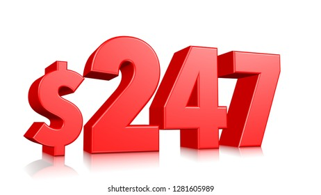 247$ Two hundred and forty seven price symbol. red text number 3d render with dollar sign on white background