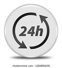 24h button isolated. 3d illustration