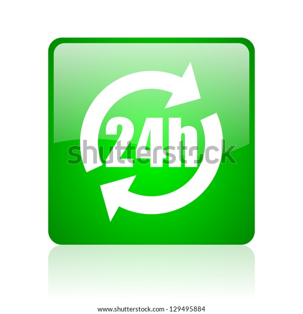 24h green square web icon on white background