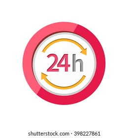 24h icon. Repair fix tool icons. 24h Customer support service signs. Circle concept web button. 24 h  icon. 24h icon on clean background. Isolated icon 24h. 24H icon, badge, label or sticker