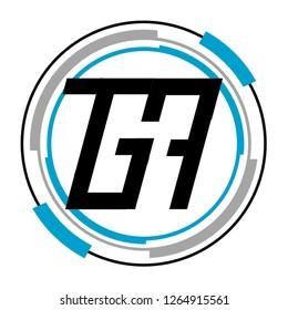 24H word or 247 number or GA letter design logo