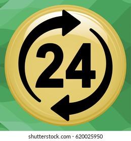 24hour icon illustration. Isolated 24 hours symbol.