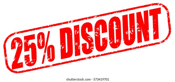 25% discount red stamp on white background.