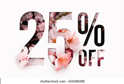 25% off discount promotion sale Brilliant poster, banner, ads. Precious Paper cut with real sakura flowers and leaves. For your unique selling poster / banner promotion offer percent discount ads.