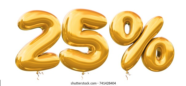 25% off discount promotion sale made of realistic 3d gold helium balloons. Illustration of balloon percent discount collection for your unique selling poster,banner ads ; Christmas, Xmas sale and more