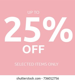 25 % off text  sale coupon card isolated on pink background
