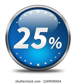 25 percent button isolated. 3d illustration