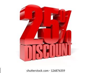 25 percent discount. Concept 3D illustration.