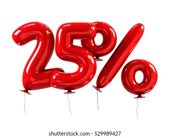 25% template Made Of Red Balloons. Sale Concept. 3d Rendering Isolated on White Background.