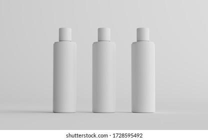 250ml White Plastic Shampoo / Shower Gel / Skin Tonic, Cosmetic Bottle Mockup - Three Bottles. 3D Illustration