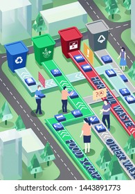 2.5d garbage sorting city garbage transfer illustration