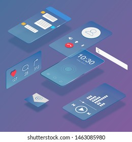 2.5d technology style phone function illustration