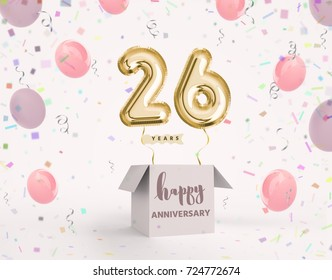26 years anniversary, happy birthday joy celebration. 3d Illustration with brilliant gold balloons & delight confetti for your unique greeting card, banner, birthday invitation, celebrate anniversary.