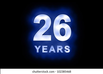 26 Years in glowing white numbers and text with a mottled patterning on blue background suitable for a birthday, celebration or anniversary