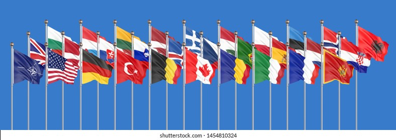 The 28 waving Flags of NATO Countries - North Atlantic Treaty. Isolated on sky background  - 3D illustration.