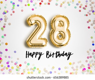 28th Birthday celebration with gold balloons and colorful confetti glitters. 3d Illustration design for your greeting card, birthday invitation and Celebration party of twenty eight years anniversary