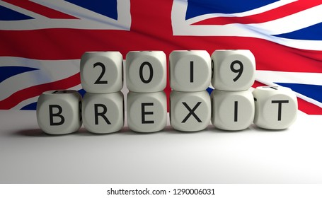 29th March 2019 Great Britain leaves European Union (EU), Brexit. 3D render illustrarion.