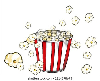 2d Animation motion graphics showing a drawing of a popcorn in red and white stripe bucket popping on white background.