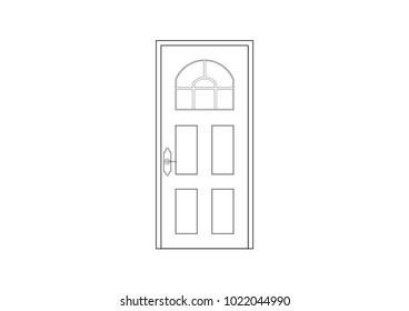 2D CAD architectural drawing of french door in black and white