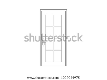 2 D Cad Architectural Drawing French Door Stock Illustration