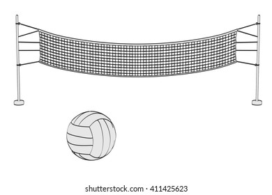 2d cartoon illustration of volleyball set