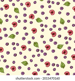 2D digital illustration. Colorful background pattern with berries. Blueberries, cherry slices and mint leaves on light yellow background.