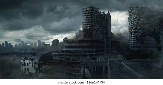 A 2d digital illustration of a destroyed cityscape.