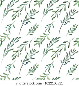 2d hand drawn watercolor seamless background. Colorful olives branch with fetus. Pattern for textile, wrapping, branding, invitations.
