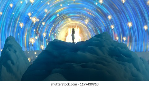 2d illustration. Abstract dreamlike motivational image. Illustration of person being in a dream in imaginary world. Idea. Thought and knowledge.