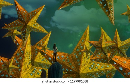 2d illustration. Abstract dreamlike motivational image. Illustration of person being in a dream in imaginary world. Christmas time.