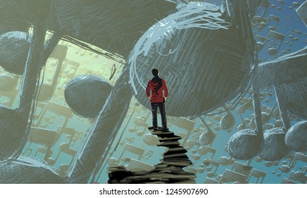 2d illustration. Abstract dreamlike motivational image. Illustration of person being in a dream in imaginary world. Musical notation.