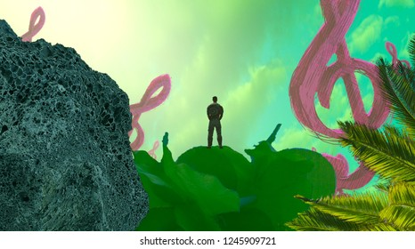 2d illustration. Abstract dreamlike motivational image. Illustration of person being in a dream in imaginary world. Music symbol notation.