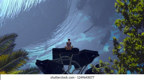 2d illustration. Abstract dreamlike motivational image. Illustration of person being in a dream in imaginary world. Feather