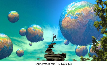 2d illustration. Abstract dreamlike motivational image. Illustration of person being in a dream in imaginary world. Earth planet.