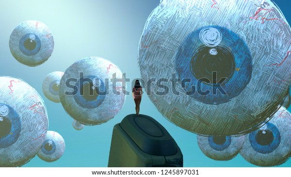 2d illustration. Abstract dreamlike motivational image. Illustration of person being in a dream in imaginary world. Observation. Eye looking at you.