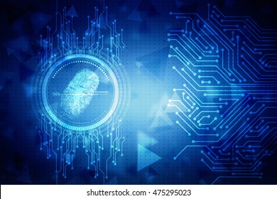 2d illustration Abstract technology background.Security system concept with fingerprint sign