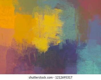 2d illustration. Artistic background image. Abstract painting on canvas. Contemporary art. Hand made art. Colorful texture. Modern artwork. Strokes of fat paint. Brushstrokes.