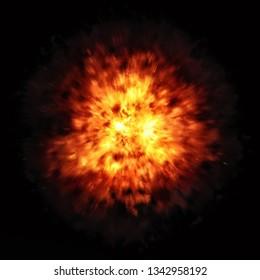 2d illustration of a big fire explosion