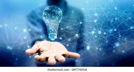 2. Illustration: Zukunftstechnologie, Innovationshintergrund, kreatives Ideenkonzept