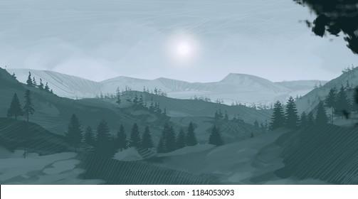 2d illustration. Canadian Wilderness mountains. Digital art. Handmade digital painting.