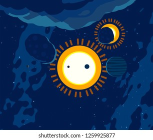 2d illustration. Cartoon cosmos background image. Deep interstellar space. Stars, planets and moons. Various science fiction creative backdrops. Space art. Imaginary cosmic backdrop.