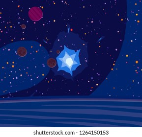 2d illustration. Cartoon draw style space picture. Deep vast space. Stars, planets and moons. Various science fiction creative backdrops. Space art. Alien solar systems.Planets and Moons.