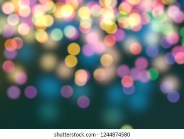 2d illustration of christmas bokeh on dark background. abstract texture. Defocused scattered dots background. Blurred bright light. Circular points. Christmas eve time. Colorful circle shapes.