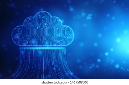 2d illustration of  Cloud computing, Cloud computing and Big data concept, Cloud computing technology internet concept background