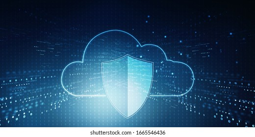 2d illustration Cloud with shield