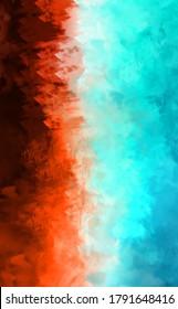 2D Illustration von bunten Pinselstrichen. Dekorative Texturmalerei. Lebhafter Farbmuster-Hintergrund.