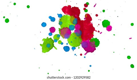 2d illustration. Colorful ink splashes. Paint splatters on bright material. Multi color dots. Watercolor on white paper.