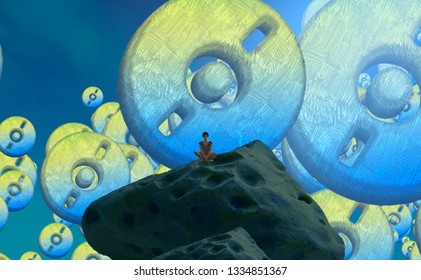 2d illustration composition. Abstract dreamlike motivational image. Illustration of person being in a dream in imaginary world. Colorful backdrop