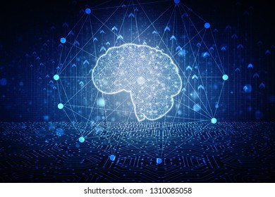 2d illustration Concept of thinking, background with brain, Abstract Artificial intelligence. Technology web background