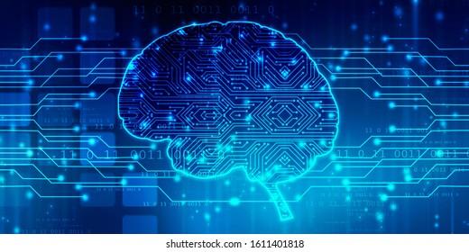 2d Illustration Konzept des Denkens, Hintergrund mit Gehirn, Abstrakte künstliche Intelligenz. Technologie-Web-Hintergrund